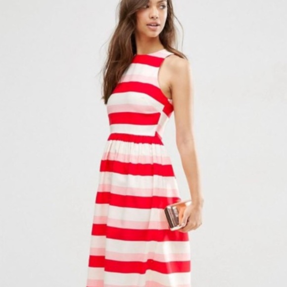 9dd488b90b9 ASOS Dresses   Skirts - Adorable Pink white and red striped dress. 💐💋❤